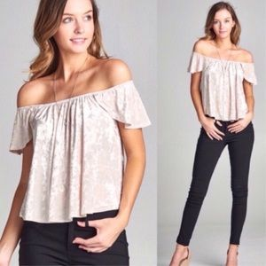 Tops - Ivory Off Shoulder Crushed Velvet Top